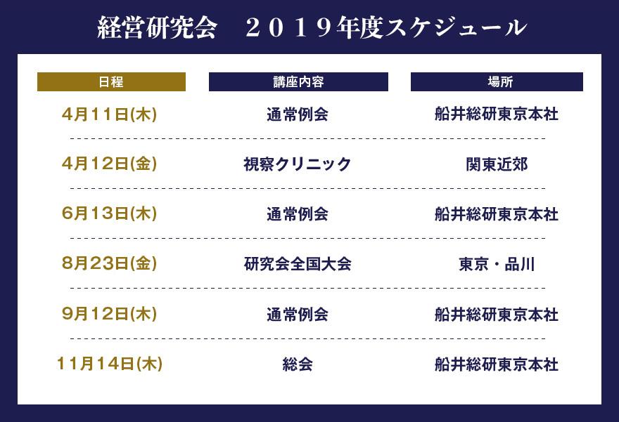 2019年度スケジュール